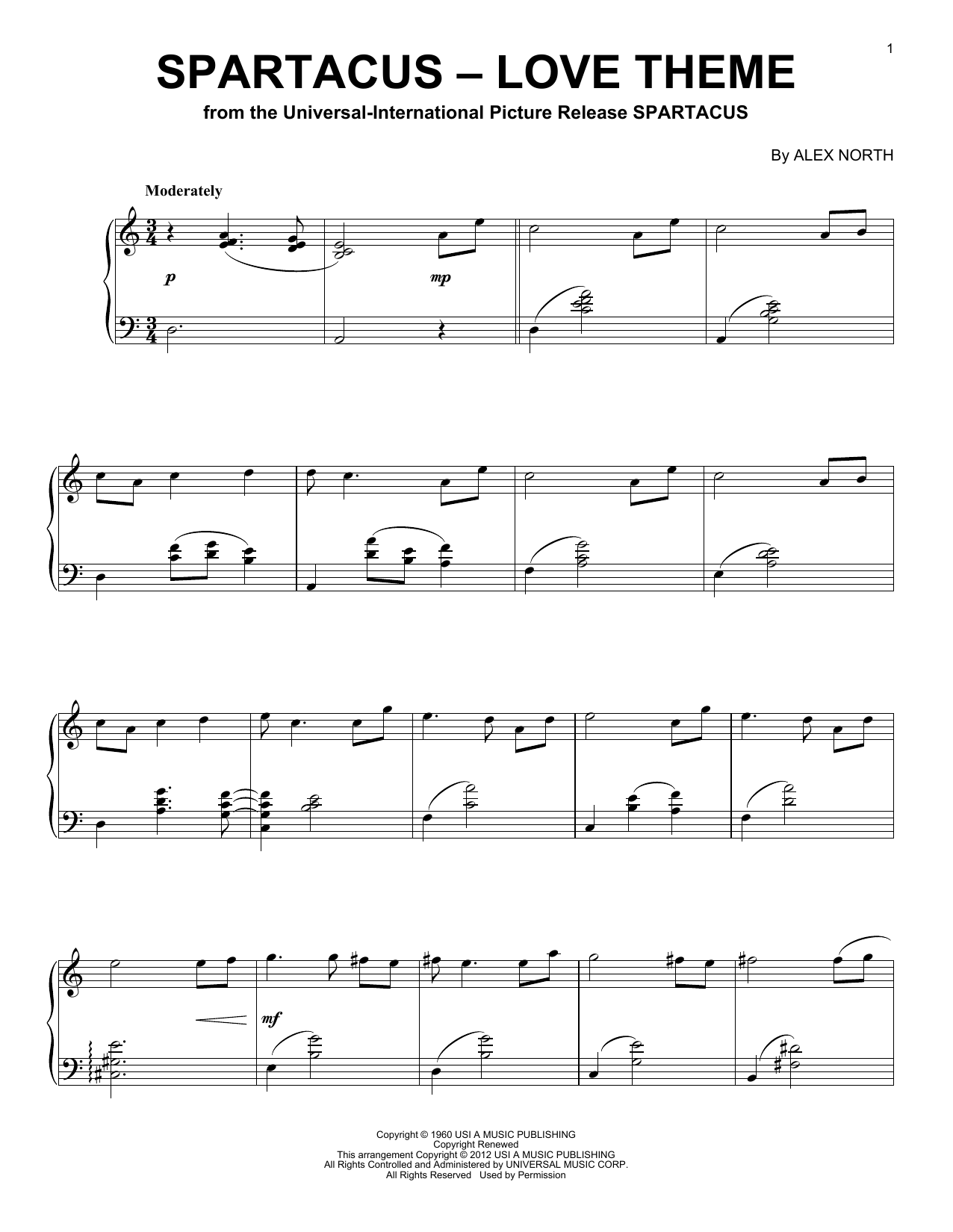 Alex North Spartacus - Love Theme sheet music notes and chords. Download Printable PDF.