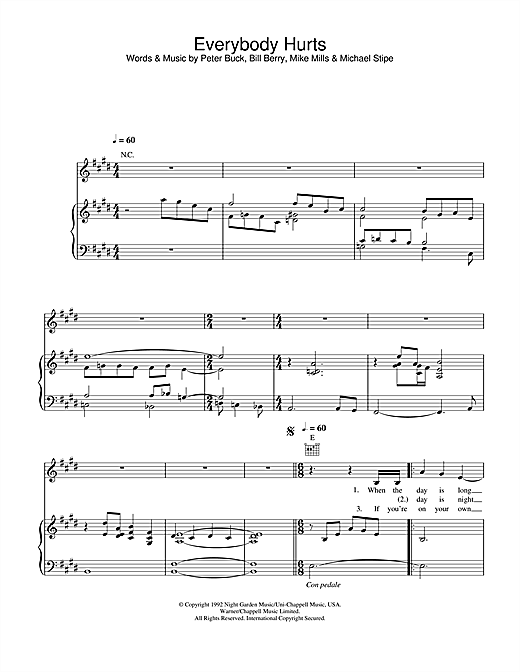 Alex Parks Everybody Hurts sheet music notes and chords