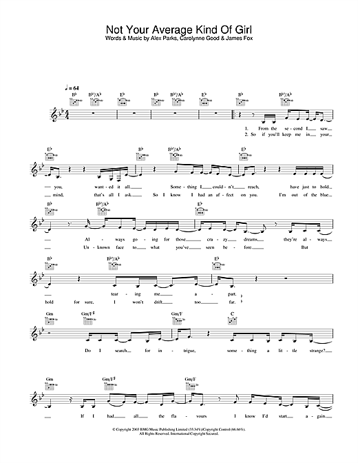 Alex Parks Not Your Average Kind Of Girl sheet music notes and chords