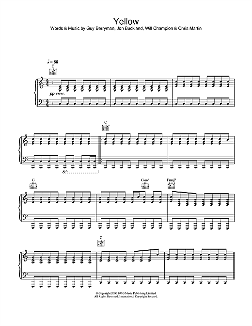 Alex Parks Yellow sheet music notes and chords