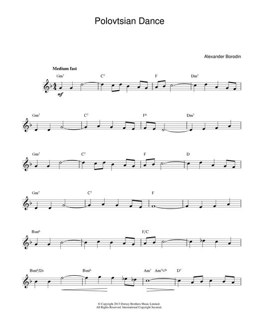 Alexander Borodin Polovtsian Dance Theme sheet music notes and chords. Download Printable PDF.