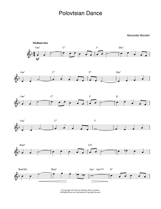 Alexander Borodin Polovtsian Dance Theme sheet music notes and chords