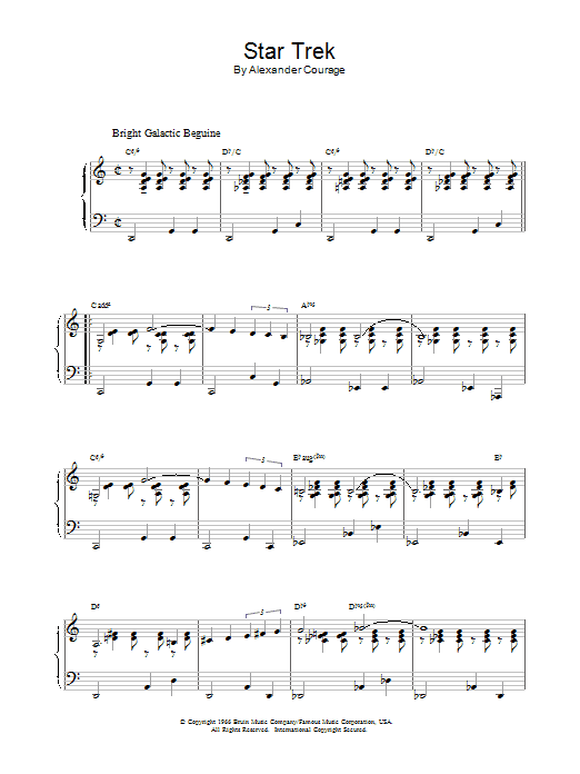 Alexander Courage Theme from Star Trek sheet music notes and chords. Download Printable PDF.