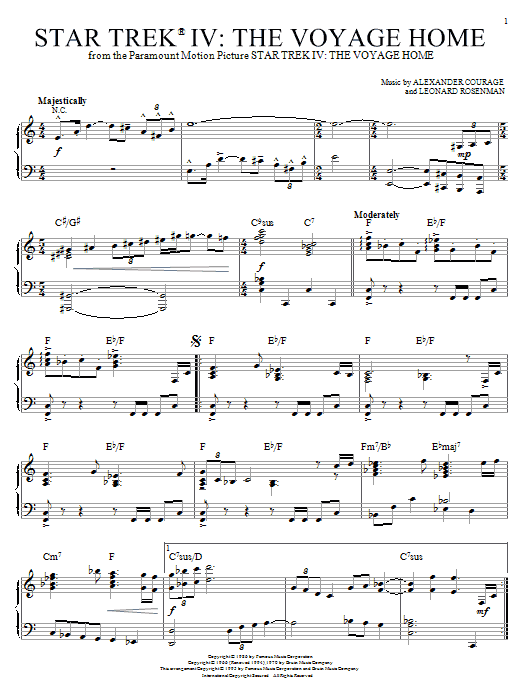 Alexander Courage Star Trek(R) IV - The Voyage Home sheet music notes and chords. Download Printable PDF.