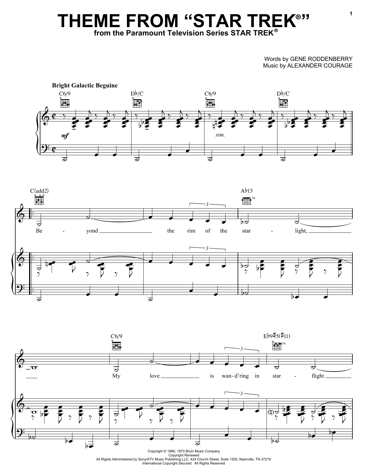 Alexander Courage Theme from Star Trek(R) sheet music notes and chords