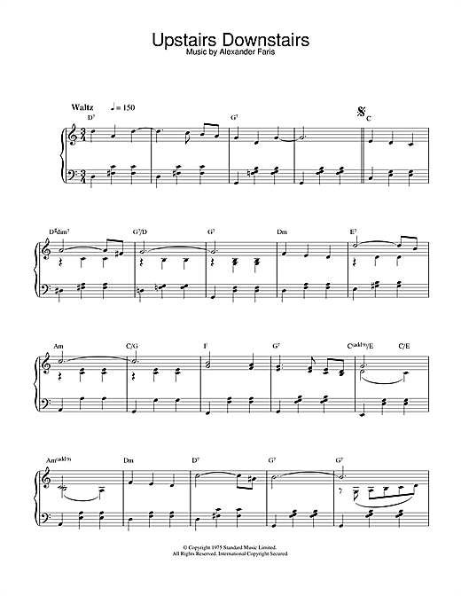 Alexander Faris Upstairs Downstairs sheet music notes and chords