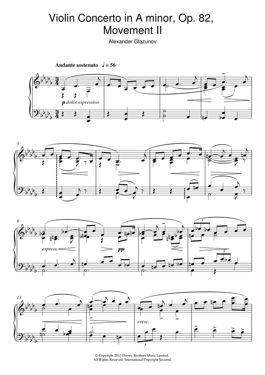 Alexander Glazunov Violin Concerto In A Minor Op. 82, 2nd Movement 'Andante Sostenuto' sheet music notes and chords. Download Printable PDF.