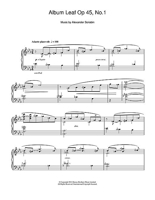 Alexander Scriabin Album Leaf sheet music notes and chords