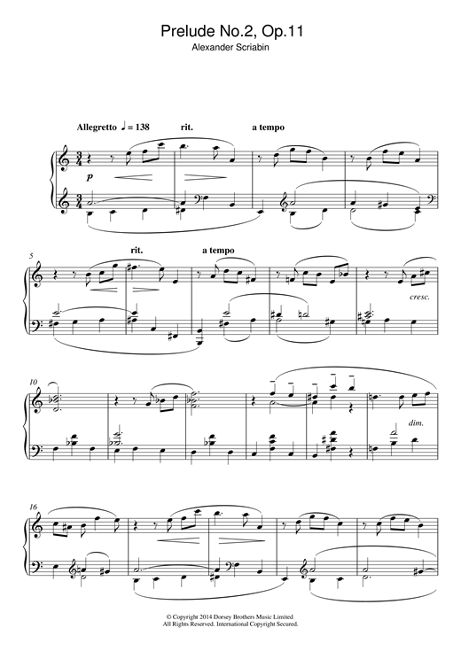 Alexander Scriabin Prelude No.2, Op.11 sheet music notes and chords. Download Printable PDF.