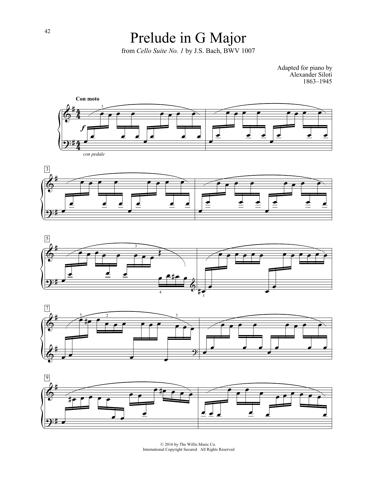 Alexander Siloti Prelude In G Major sheet music notes and chords. Download Printable PDF.