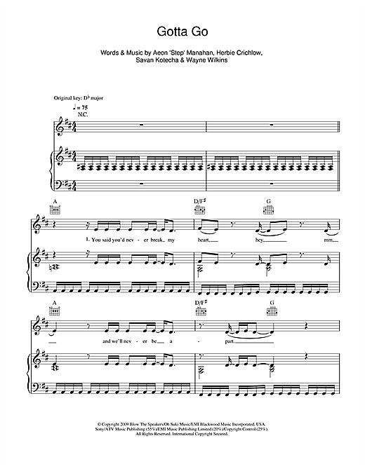 Alexandra Burke Gotta Go sheet music notes and chords. Download Printable PDF.