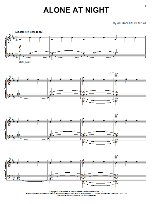 Alexandre Desplat Alone At Night sheet music notes and chords
