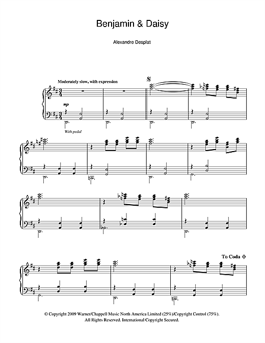 Alexandre Desplat Benjamin And Daisy (from The Curious Case Of Benjamin Button) sheet music notes and chords