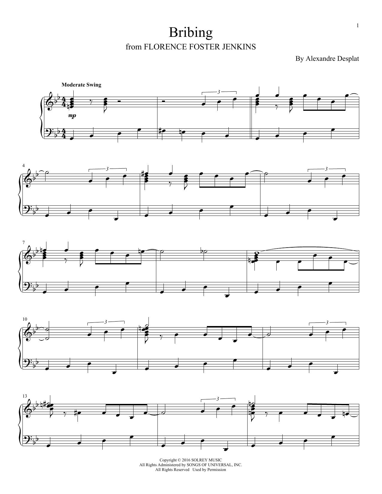 Alexandre Desplat Bribing sheet music notes and chords. Download Printable PDF.