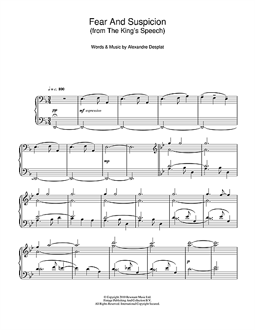 Alexandre Desplat Fear And Suspicion (from The King's Speech) sheet music notes and chords. Download Printable PDF.