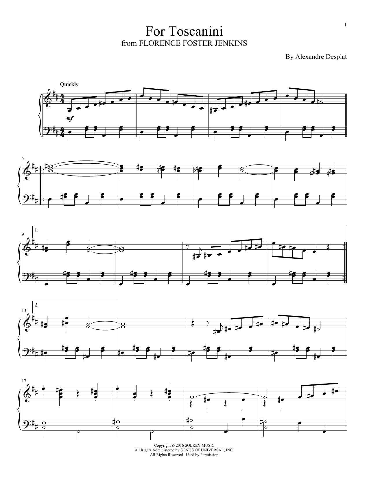 Alexandre Desplat For Toscanini sheet music notes and chords. Download Printable PDF.