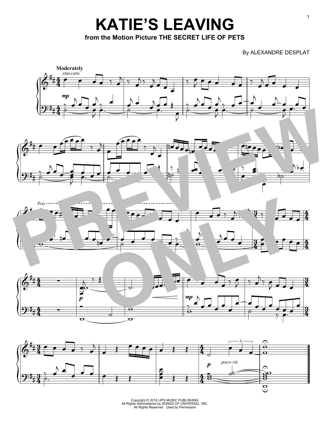 Alexandre Desplat Katie's Leaving sheet music notes and chords. Download Printable PDF.