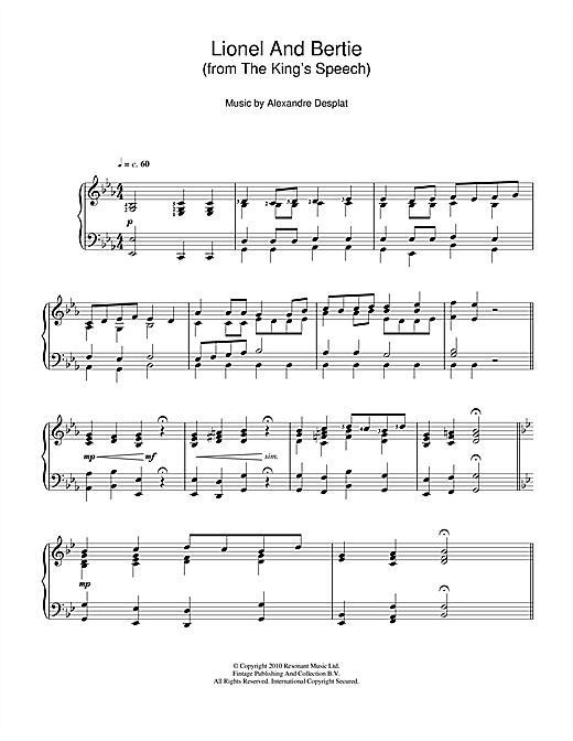 Alexandre Desplat Lionel And Bertie (from The King's Speech) sheet music notes and chords. Download Printable PDF.