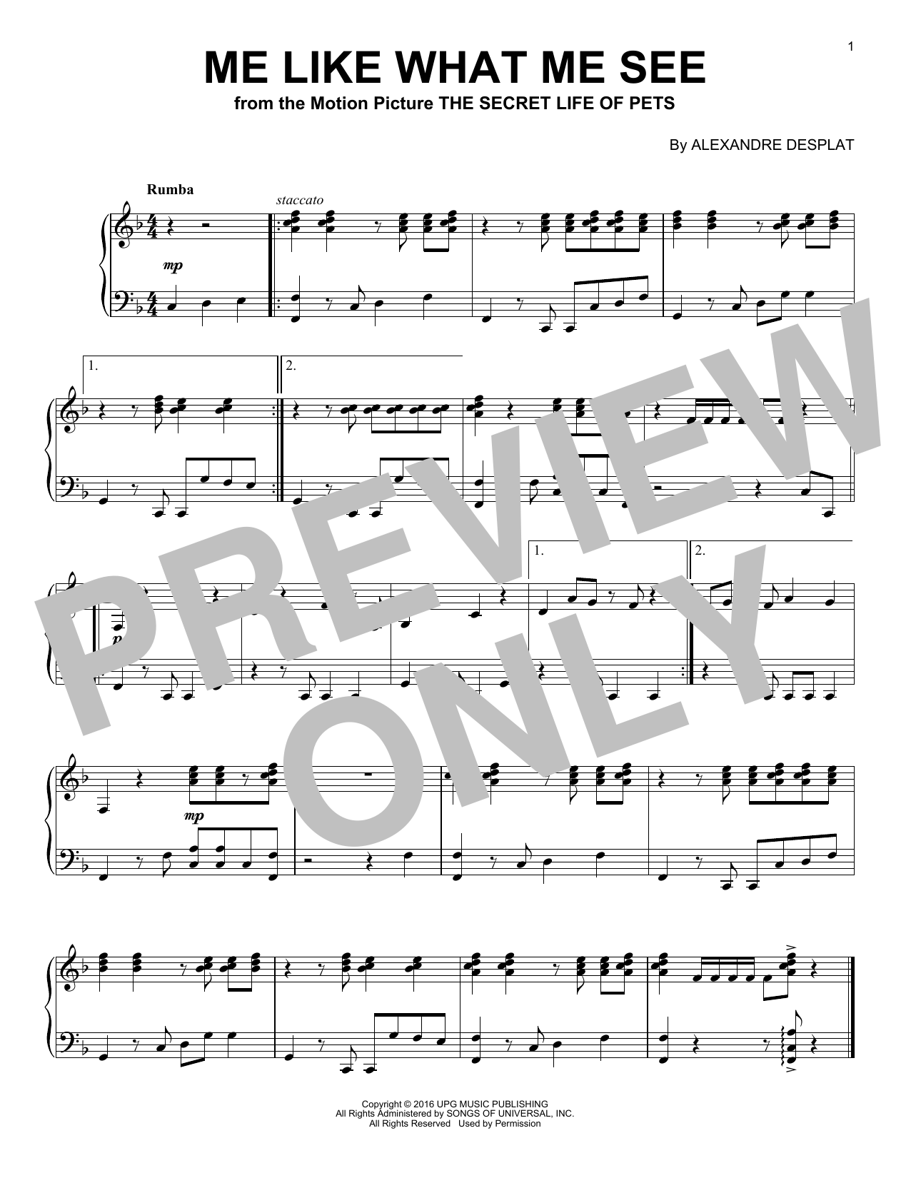 Alexandre Desplat Me Like What Me See sheet music notes and chords. Download Printable PDF.