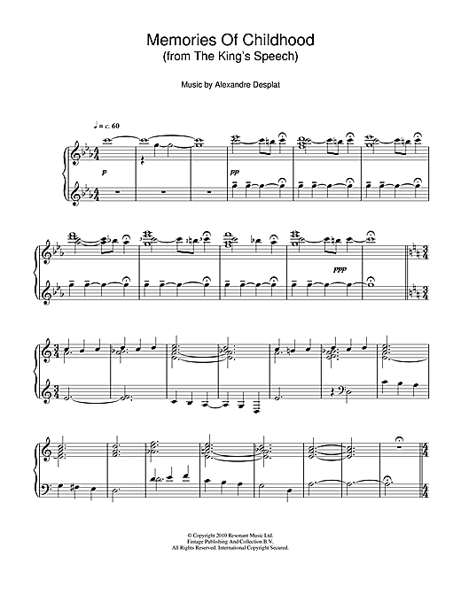 Alexandre Desplat Memories Of Childhood (from The King's Speech) sheet music notes and chords. Download Printable PDF.