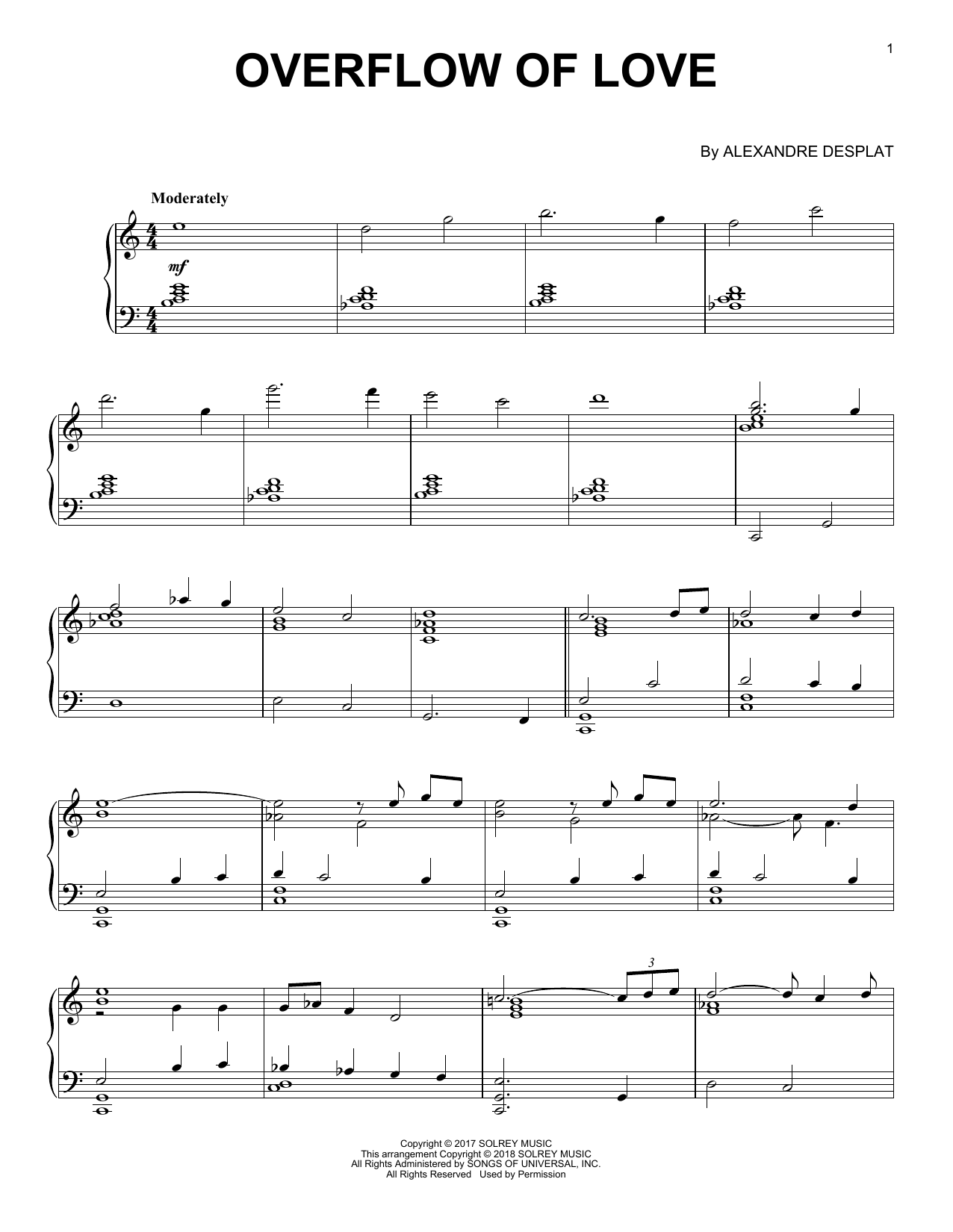 Alexandre Desplat Overflow Of Love (from 'The Shape Of Water') sheet music notes and chords. Download Printable PDF.