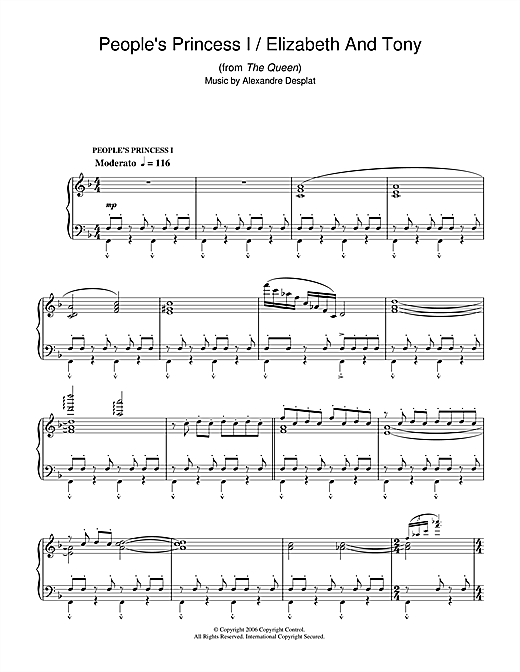 Alexandre Desplat People's Princess I/Elizabeth & Tony (from The Queen) sheet music notes and chords. Download Printable PDF.