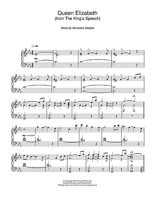 Alexandre Desplat Queen Elizabeth (from The King's Speech) sheet music notes and chords. Download Printable PDF.