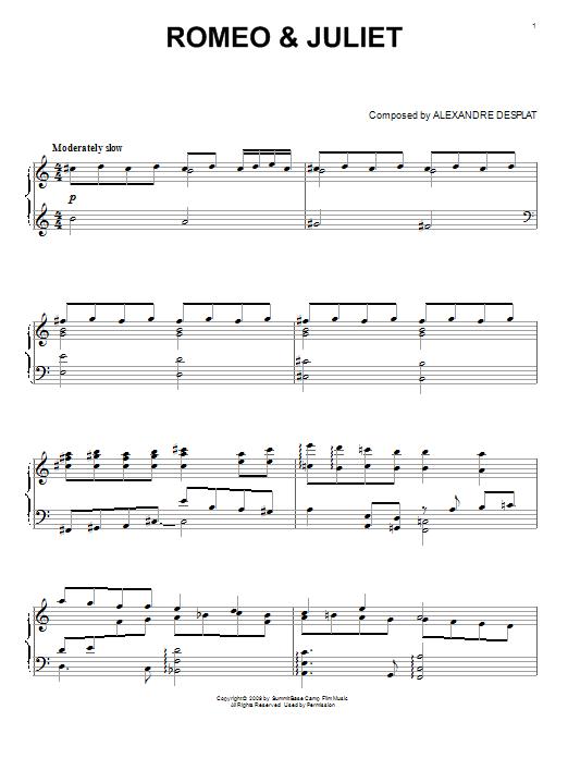Alexandre Desplat Romeo & Juliet sheet music notes and chords. Download Printable PDF.