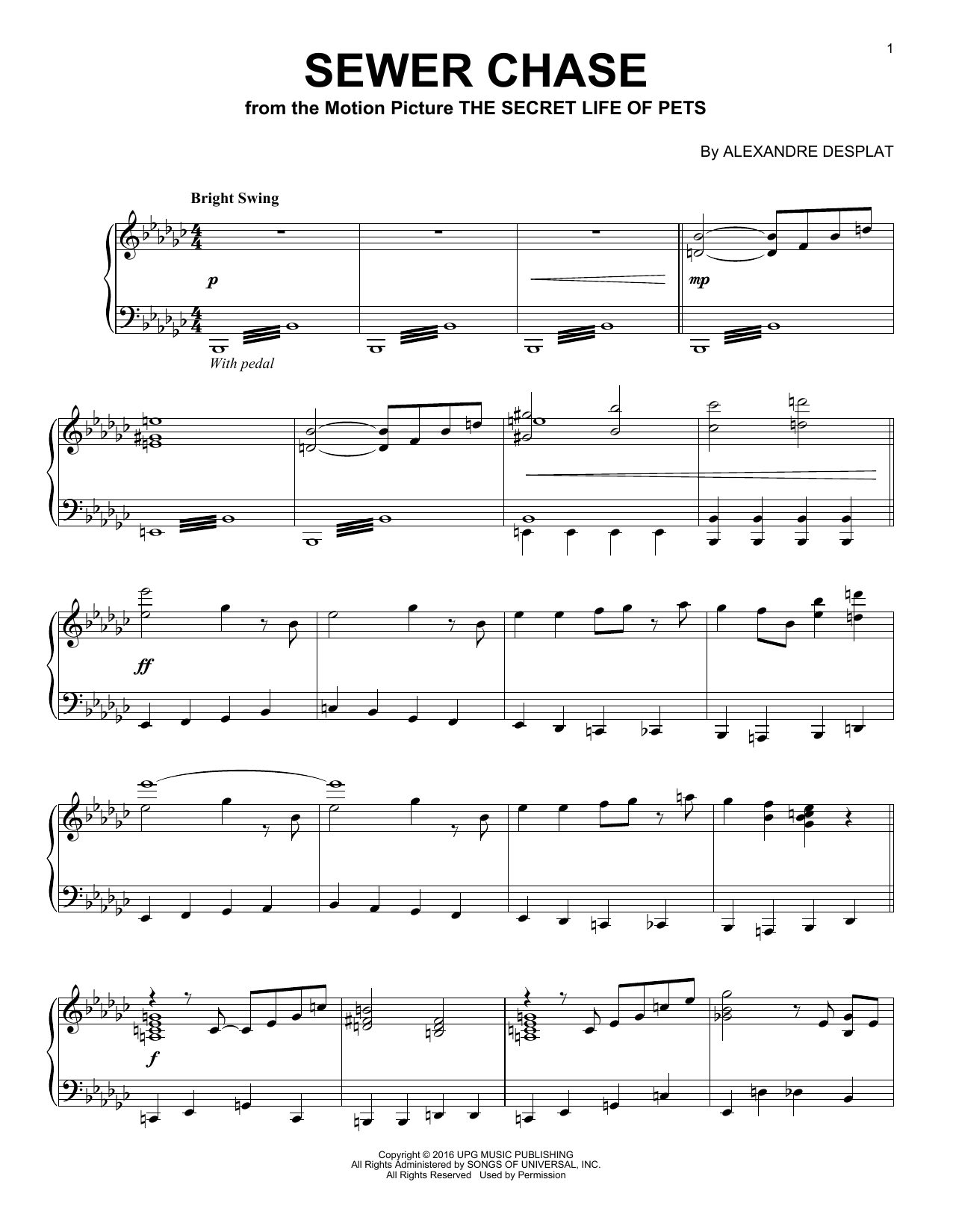 Alexandre Desplat Sewer Chase sheet music notes and chords. Download Printable PDF.