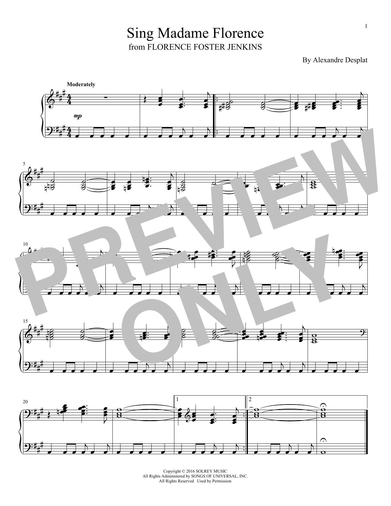 Alexandre Desplat Sing Madame Florence sheet music notes and chords. Download Printable PDF.