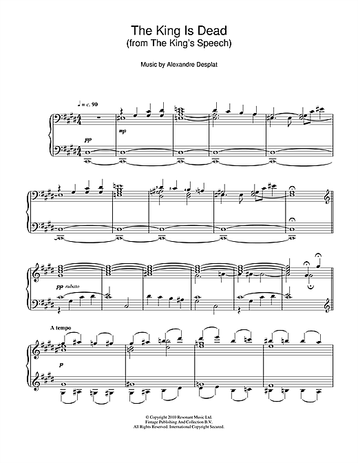 Alexandre Desplat The King Is Dead (from The King's Speech) sheet music notes and chords