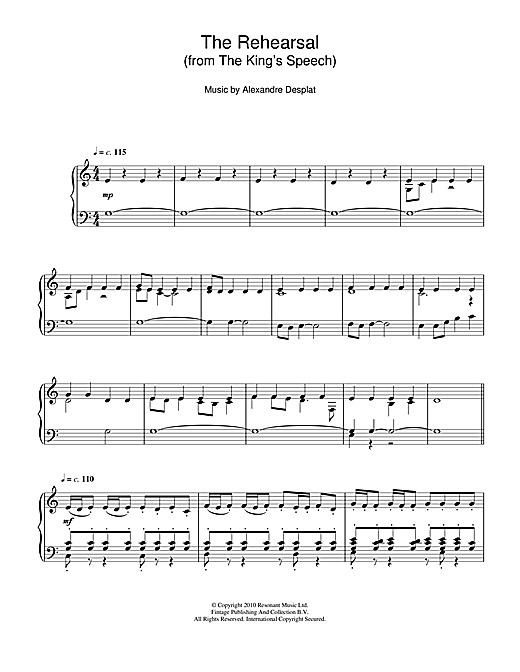 Alexandre Desplat The Rehearsal (from The King's Speech) sheet music notes and chords. Download Printable PDF.