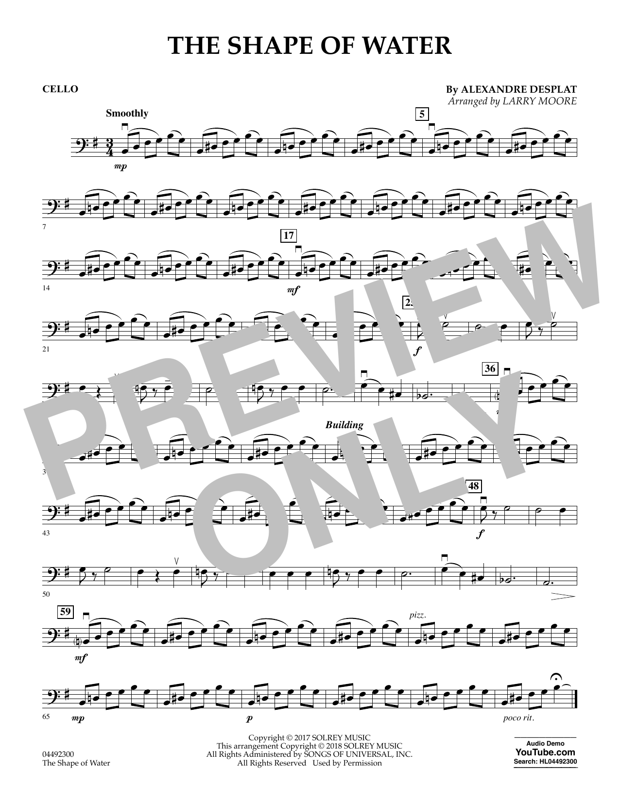 Alexandre Desplat The Shape of Water (arr. Larry Moore) - Cello sheet music notes and chords. Download Printable PDF.