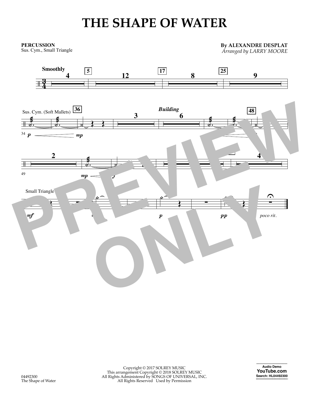 Alexandre Desplat The Shape of Water (arr. Larry Moore) - Percussion sheet music notes and chords. Download Printable PDF.