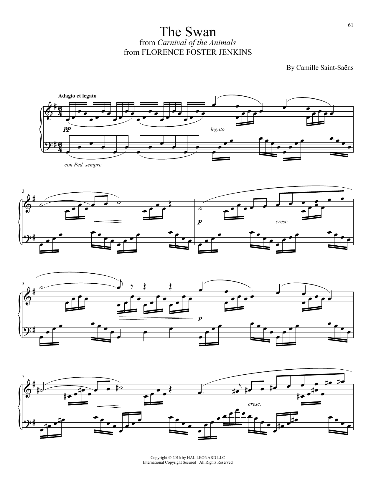 Alexandre Desplat The Swan (Le Cygne) sheet music notes and chords