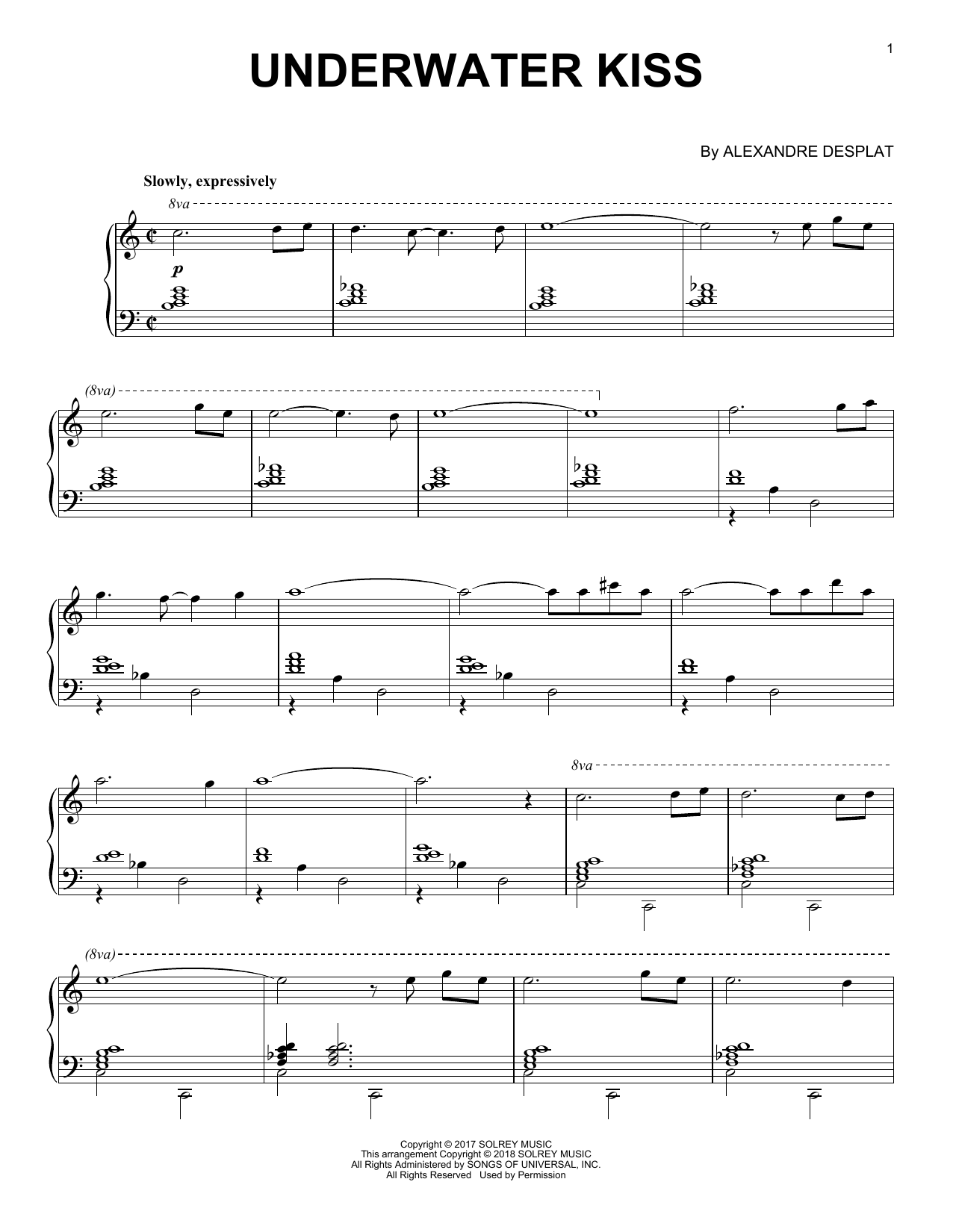 Alexandre Desplat Underwater Kiss (from 'The Shape Of Water') sheet music notes and chords. Download Printable PDF.