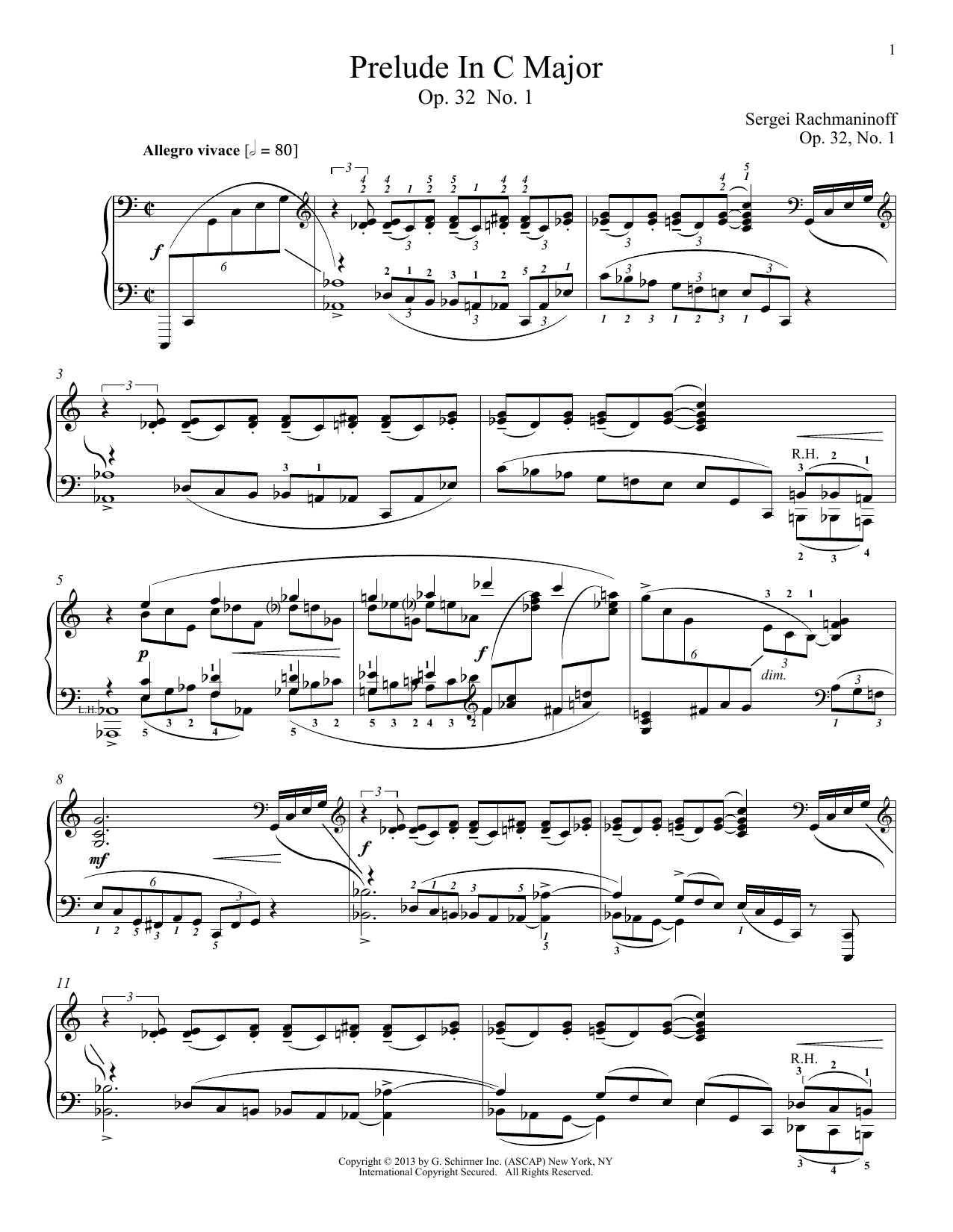 Alexandre Dossin Prelude In C Major, Op. 32, No. 1 sheet music notes and chords