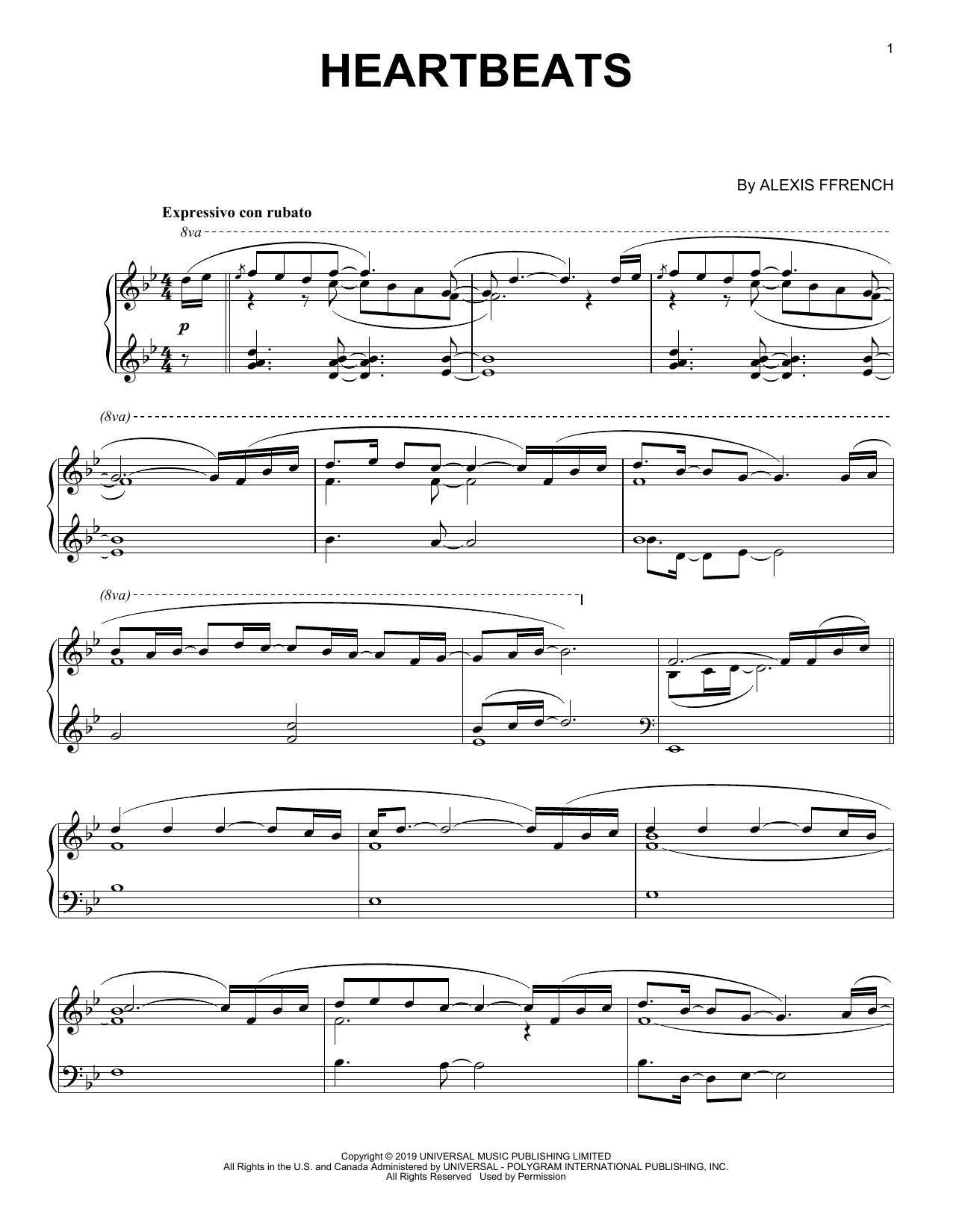 Alexis Ffrench Heartbeats Sheet Music Notes, Chords   Download Printable  Piano Solo PDF Score   SKU 15