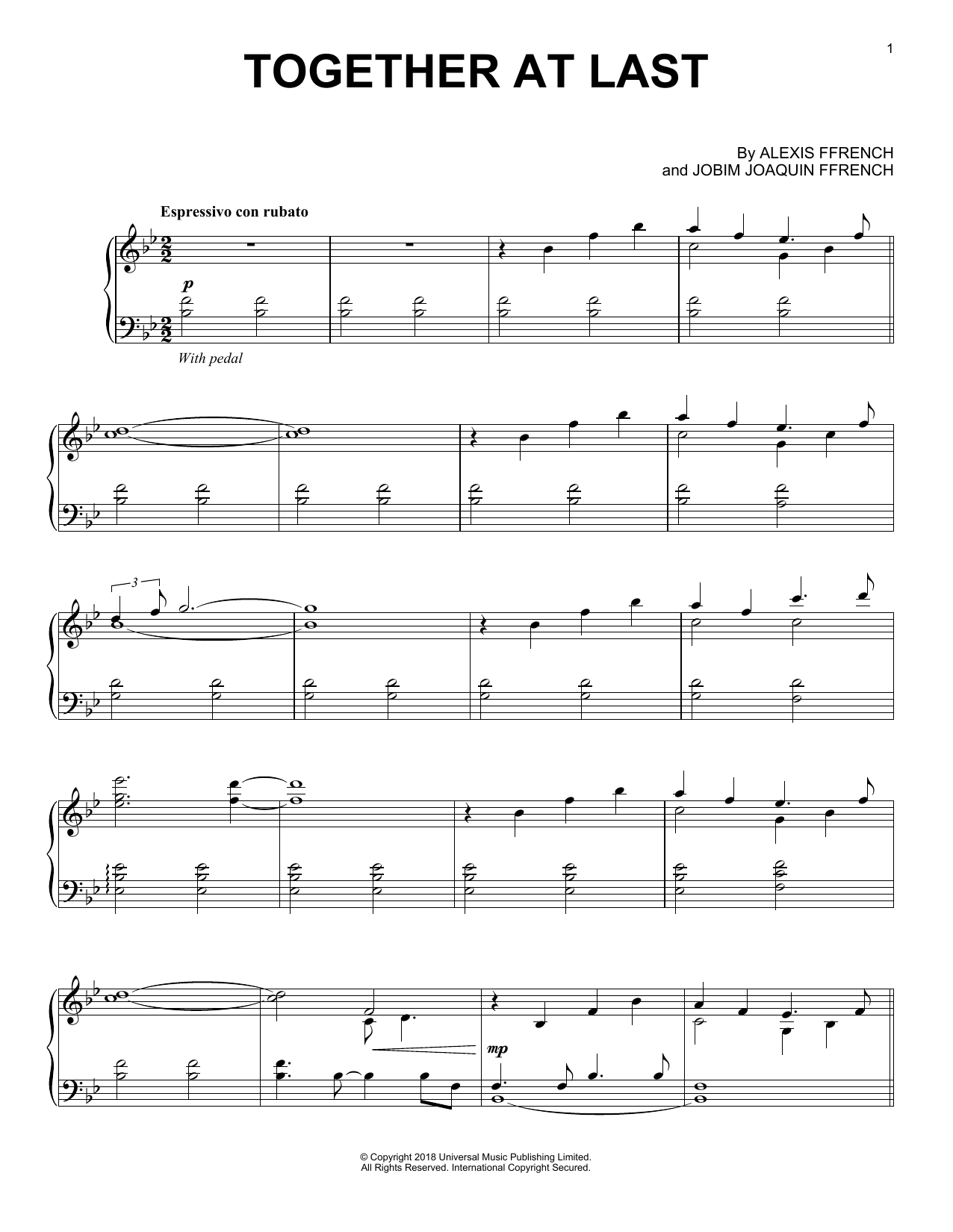 Alexis Ffrench Together At Last sheet music notes and chords