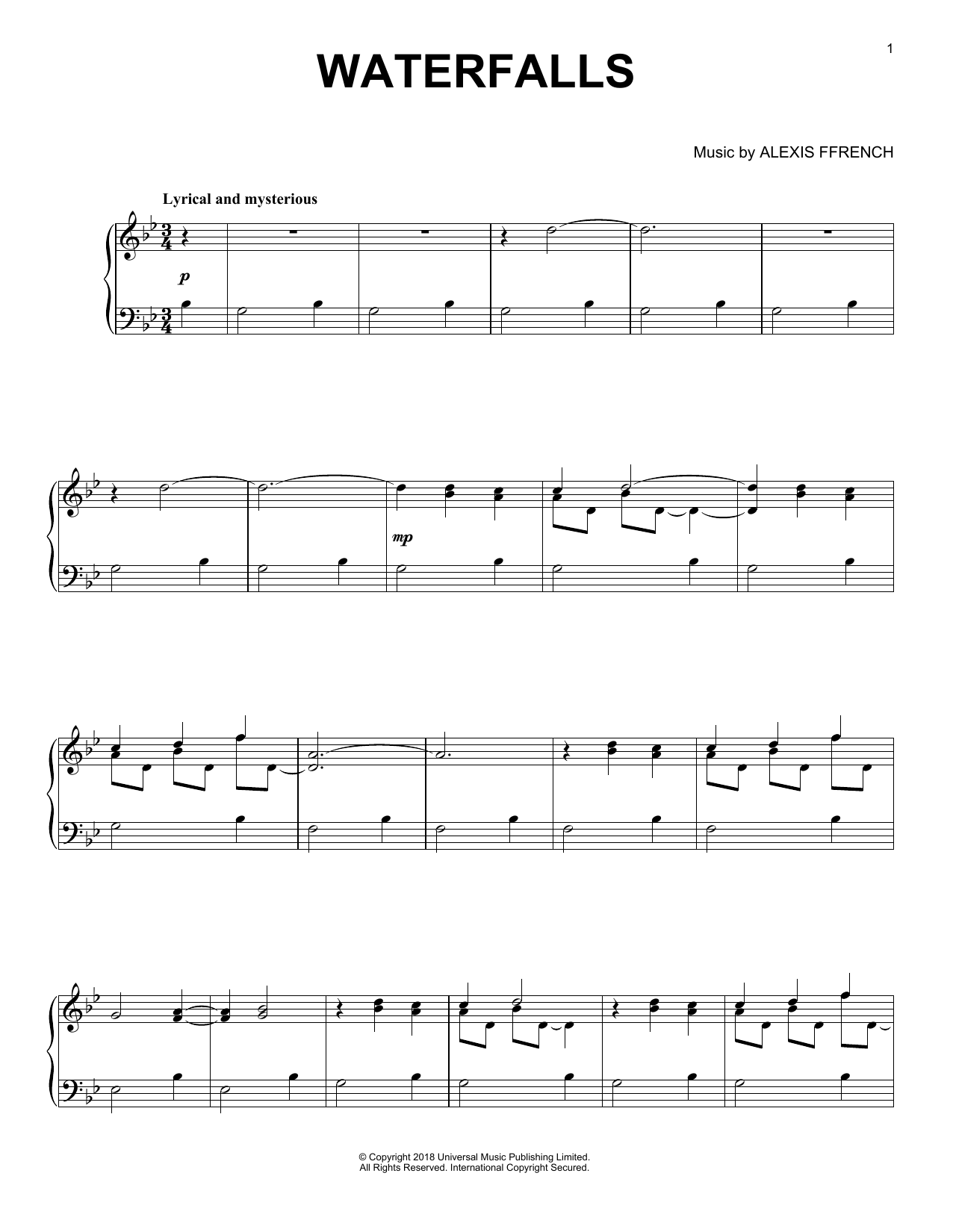Alexis Ffrench Waterfalls sheet music notes and chords