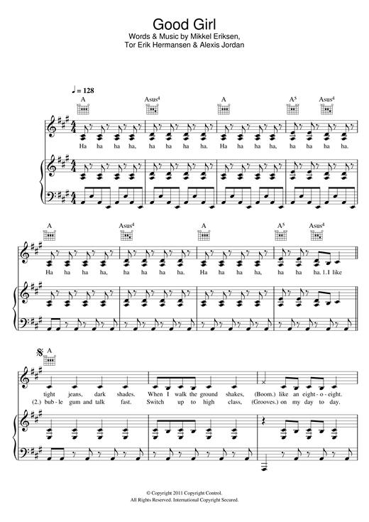 Alexis Jordan Good Girl sheet music notes and chords. Download Printable PDF.