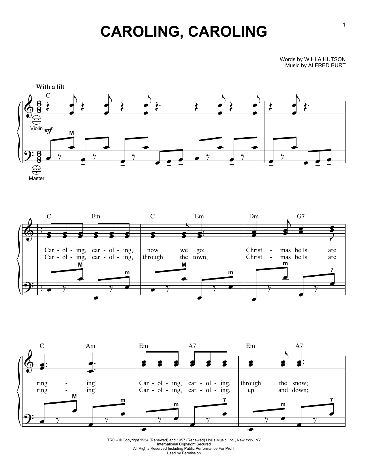 Alfred Burt Caroling, Caroling sheet music notes and chords. Download Printable PDF.