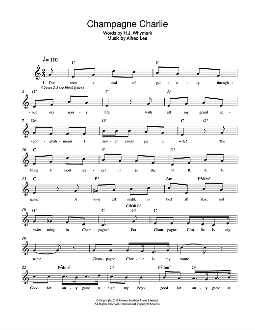 Alfred Lee Champagne Charlie sheet music notes and chords. Download Printable PDF.