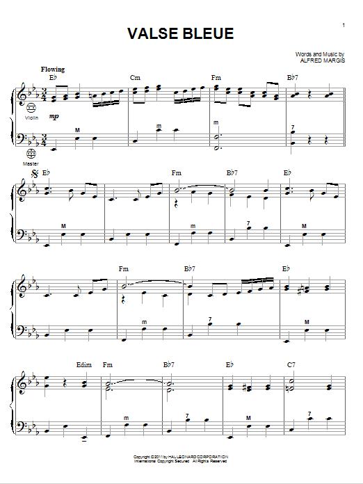 Alfred Margis Valse Bleue sheet music notes and chords. Download Printable PDF.