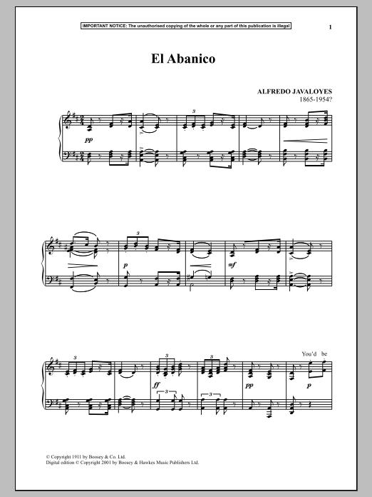 Alfredo Javaloyes El Abanico sheet music notes and chords. Download Printable PDF.