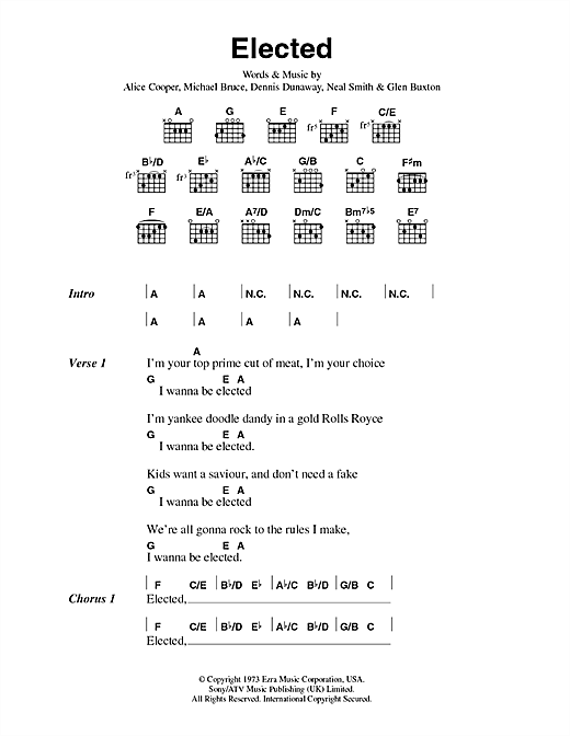 Alice Cooper Elected sheet music notes and chords. Download Printable PDF.