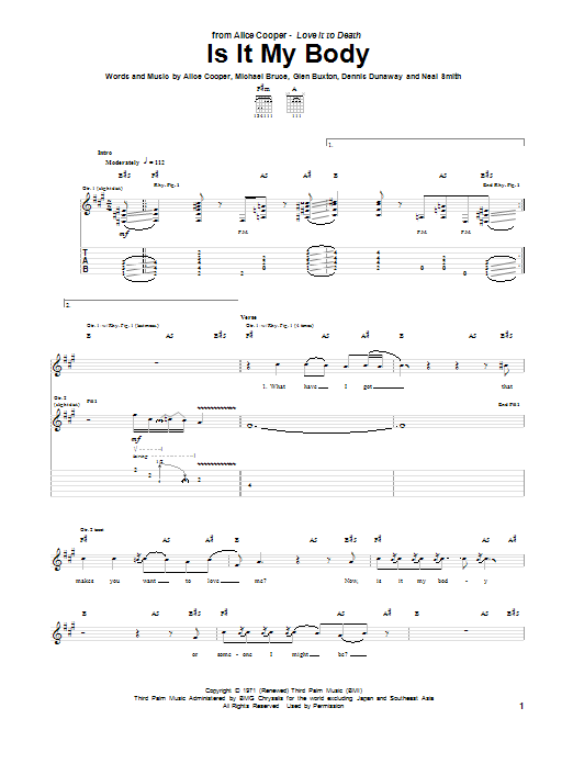 Alice Cooper Is It My Body sheet music notes and chords. Download Printable PDF.