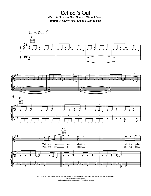 Alice Cooper School's Out sheet music notes and chords. Download Printable PDF.