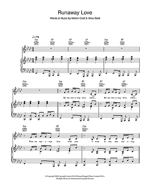 Alice Gold Runaway Love sheet music notes and chords. Download Printable PDF.