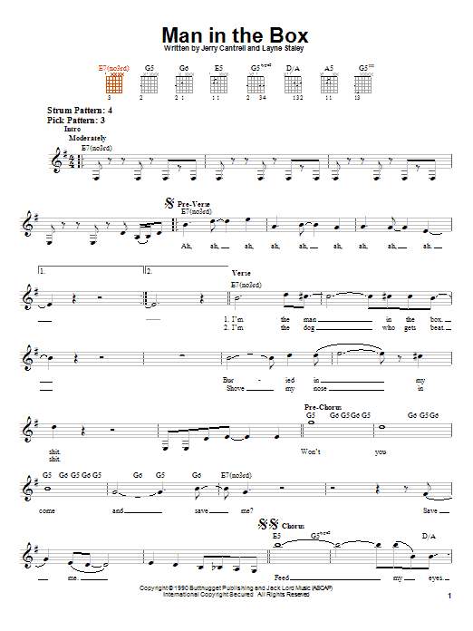 Alice In Chains Man In The Box sheet music notes and chords. Download Printable PDF.